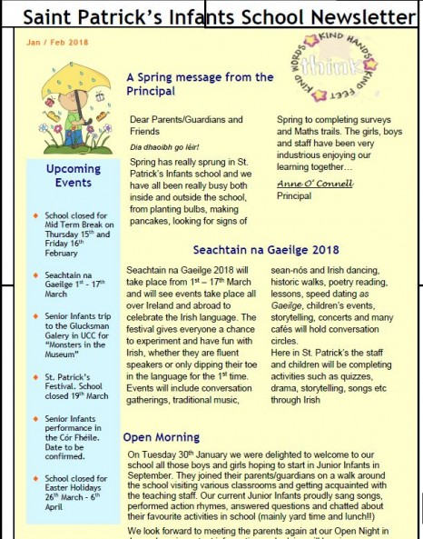 School Newsletter  St Patricks Infants National School