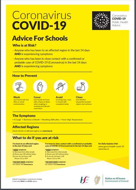Information for schools on the Coronavirus