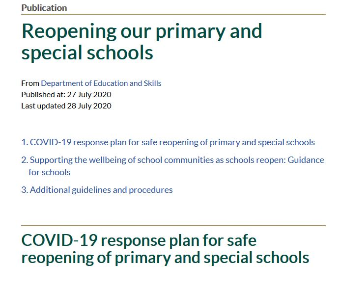Department of Education's messages about reopening schools